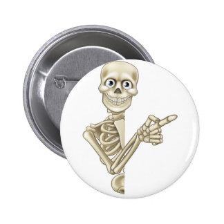 Cartoon Pointing Skeleton 6 Cm Round Badge