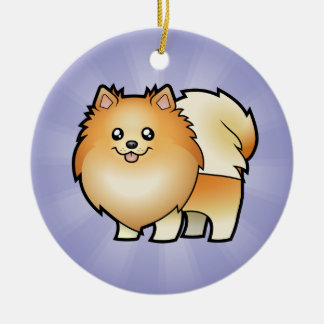 Cartoon Pomeranian (add your own message) Round Ceramic Decoration