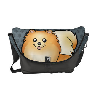 Cartoon Pomeranian Messenger Bags