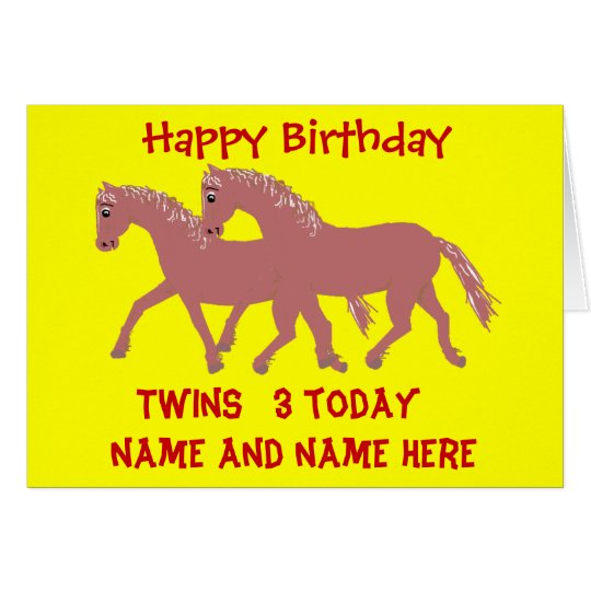 Cartoon ponies, smiling, twins birthday customise card