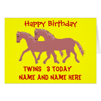 Cartoon ponies, smiling, twins birthday customize greeting card
