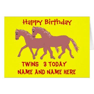 Cartoon ponies, smiling, twins birthday customize greeting card