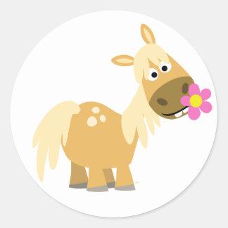 Cartoon Pony and Flower sticker