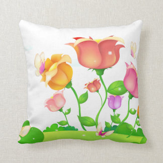 Cartoon Poppies and Butterflies American MoJo Throw Pillow