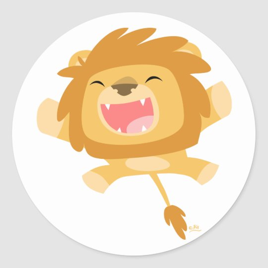 Cartoon Pouncing Lion round sticker