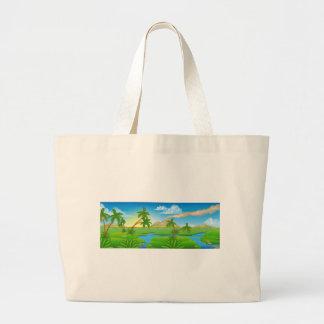 Cartoon Prehistoric Background Scene Landscape Large Tote Bag