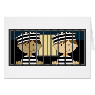 Cartoon Prisoners in Jail Cell Card