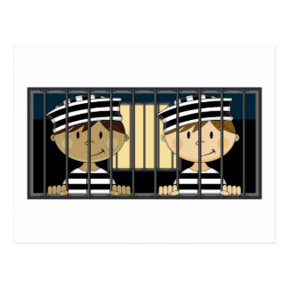 Cartoon Prisoners in Jail Cell Postcard