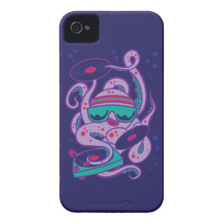 CARTOON PSYCHEDELIC OCTOPUS DJ with Turntable iPhone 4 Cases