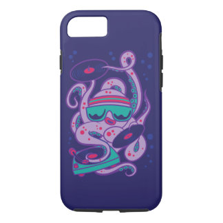 CARTOON PSYCHEDELIC OCTOPUS DJ with Turntable iPhone 7 Case