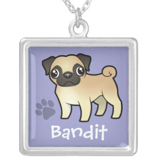 Cartoon Pug (add your pets name) Silver Plated Necklace