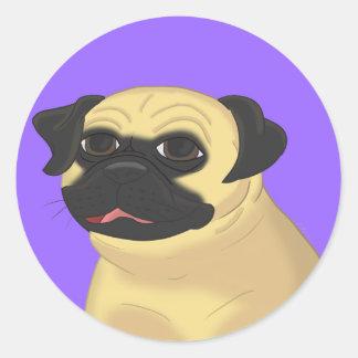Cartoon Pug Face Classic Round Sticker