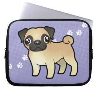 Cartoon Pug Laptop Sleeve