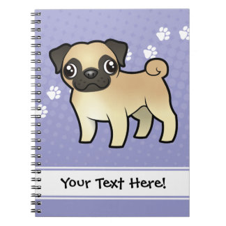 Cartoon Pug Notebooks