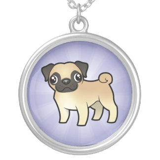 Cartoon Pug Silver Plated Necklace