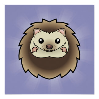 Cartoon Pygmy Hedgehog Poster