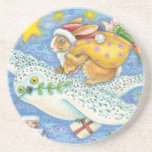 Cartoon Rabbit as Santa Claus and Owl as Sleigh