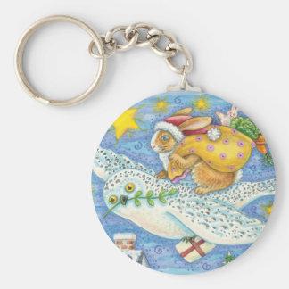 Cartoon Rabbit as Santa Claus and Owl as Sleigh Basic Round Button Key Ring