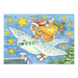 Cartoon Rabbit as Santa Claus and Owl as Sleigh 13 Cm X 18 Cm Invitation Card