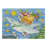 Cartoon Rabbit as Santa Claus and Owl as Sleigh Poster