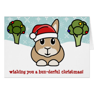 Cartoon Rabbit Christmas Card