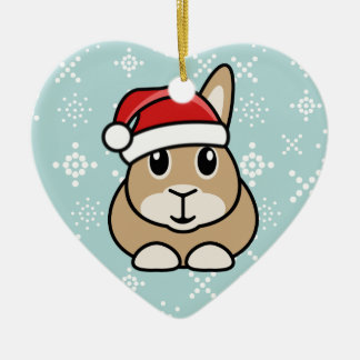Cartoon Rabbit Christmas Heart Ornament