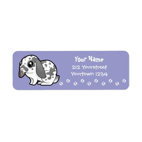 Cartoon Rabbit (floppy ear smooth hair) Return Address Label