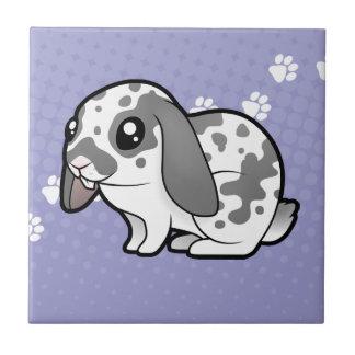 Cartoon Rabbit (floppy ear smooth hair) Small Square Tile