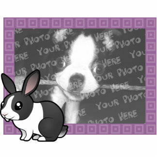 Cartoon Rabbit (uppy ear smooth hair) Photo Sculpture Magnet