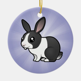 Cartoon Rabbit (uppy ear smooth hair) Round Ceramic Decoration