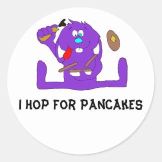 Cartoon Rabbit With Pancakes Round Sticker