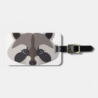 Cartoon Raccoon Head Luggage Tag