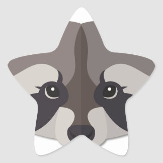 Cartoon Raccoon Head Star Sticker