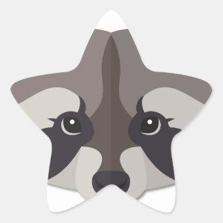 Cartoon Raccoon Head Star Stickers
