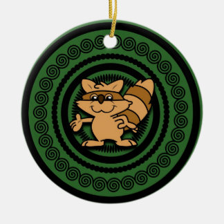 Cartoon Racoon Christmas Ornament