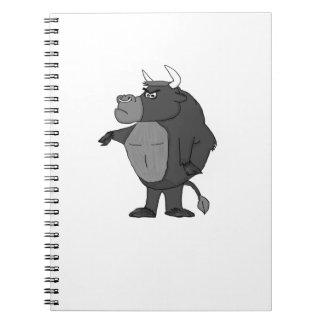 Cartoon raging bull notebooks