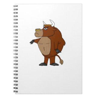 Cartoon raging bull spiral notebook