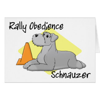 Cartoon Rally Obedience Schnauzer Greeting Card