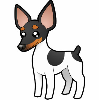 Cartoon Rat Terrier / Toy Fox Terrier Photo Sculpture Magnet
