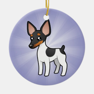 Cartoon Rat Terrier / Toy Fox Terrier Round Ceramic Decoration