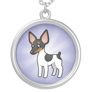 Cartoon Rat Terrier / Toy Fox Terrier Silver Plated Necklace