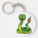 Cartoon Rattlesnake Basic Round Button Key Ring