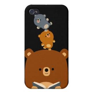 Cartoon Reading Bear & Cubs 4/4s  Cases For iPhone 4