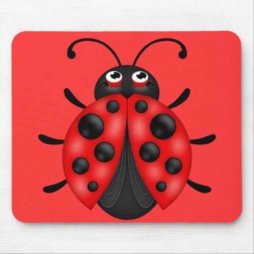 Cartoon Red Black Ladybug Mousemat Mouse Pads