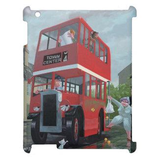 Cartoon Red Bus as bus Stop Queue iPad Case