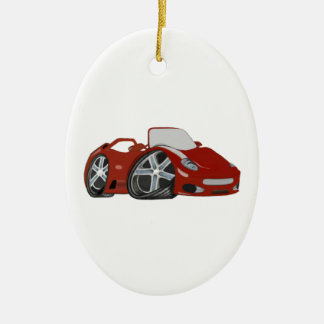 Cartoon Red Car Art Christmas Ornament