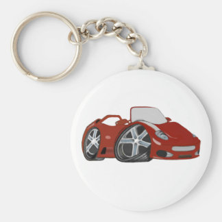 Cartoon Red Car Art Key Ring