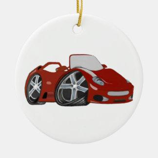 Cartoon Red Car Art Round Ceramic Decoration