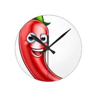 Cartoon Red Chilli Pepper Mascot Round Clock
