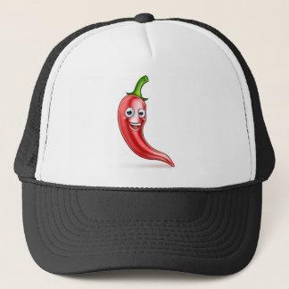 Cartoon Red Chilli Pepper Mascot Trucker Hat